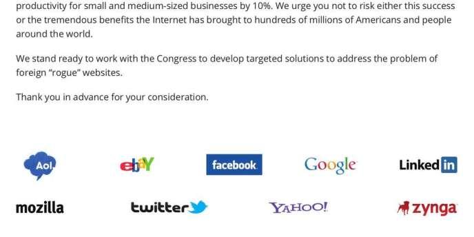Les entreprises ayant financé, mi-novembre, une page de publicité dans le