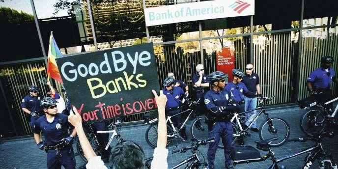 Manifestation devant la Bankof America, à Los Angeles, le 5 novembre,  dans le cadre de l'opération