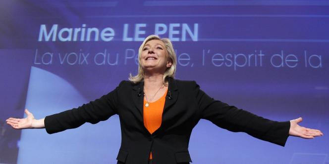 Marine Le Pen, lors de la présentation de son projet présidentiel, le 19 novembre à Paris.