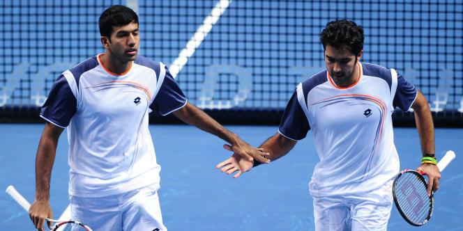 Le Pakistanais Aisam-ul-Haq Qureshi et l'Indien Rohan Bopanna, le 20 novembre au tournoi de Londres.