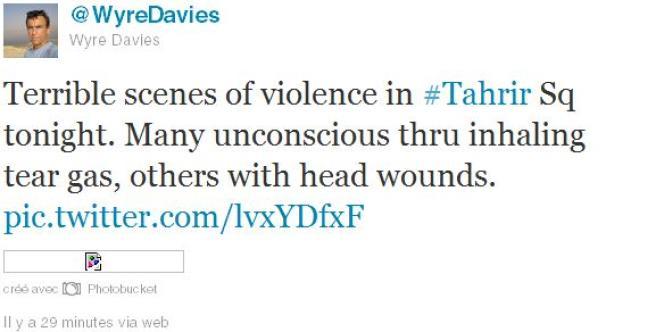 Tweet du correspondant de la BBC au Caire, lundi 21 novembre