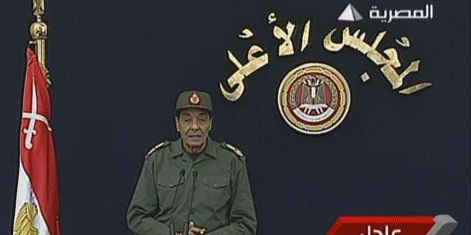Le maréchal Hussein Tantaoui, chef du Conseil suprême des forces armées, s'est exprimé à la télévision égyptienne, mardi 22 novembre.