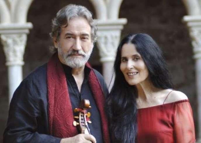 Montserrat Figueras et son mari Jordi Savall à l'Abbaye de Fontfroide en 2010.