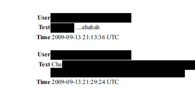 Extrait anonymisé des données transmises par Facebook.