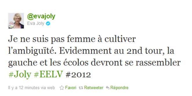 Eva Joly a confirmé sur Twitter qu'elle appellerait au rassemblement au second tour de l'élection présidentielle (capture d'écran).