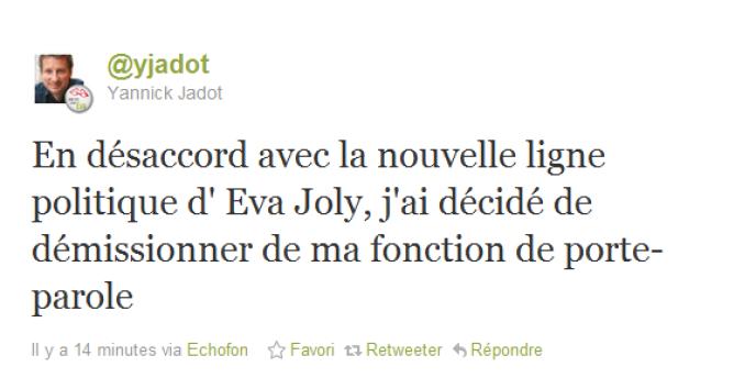 Capture d'écran du tweet par lequel Yannick Jadot a annoncé sa démission, mercredi 23 novembre.
