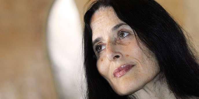 La soprano espagnole Montserrat Figueras lors d'une conférence de presse à l'Abbaye de Fontfroide près de Narbonne en juillet 2006.