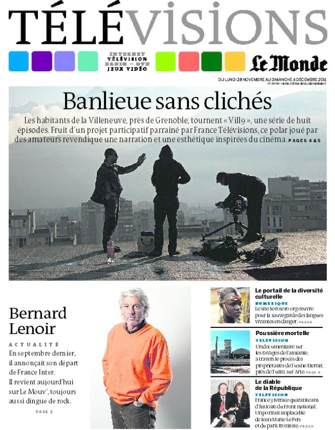 La Une du supplément TéléVisions daté dimanche 27 / Lundi 28 novembre 2011.