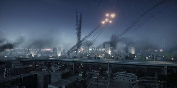 Une scène de bombardement à Téhéran, dans le jeu Battlefield 3.
