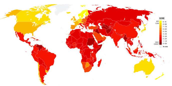 L'indice de perception de la corruption dans le monde, selon les données de Transparency International.