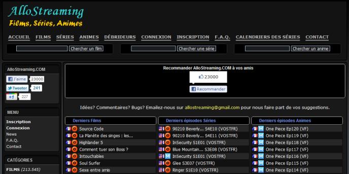 La page d'accueil du site Allostreaming, directement visé par les demandes de blocage des ayants droit français.