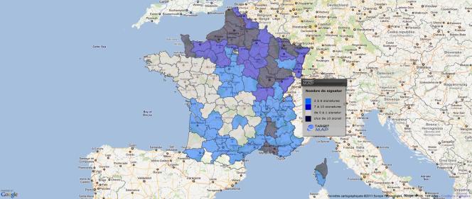 Nombre de parrainages de maires pour Jean-Marie Le Pen par département en 2007