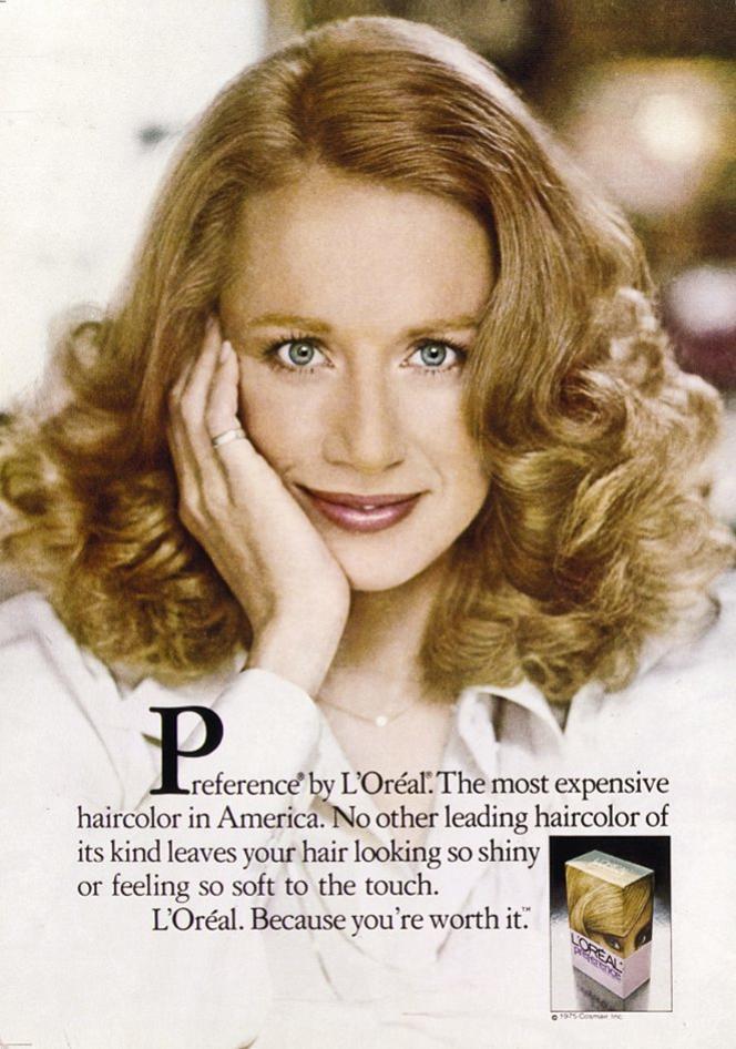 La campagne pour la teinture Préférence en 1976 avec Joanne Dasseau. Photo:Steve Horn/archives L'Oréal