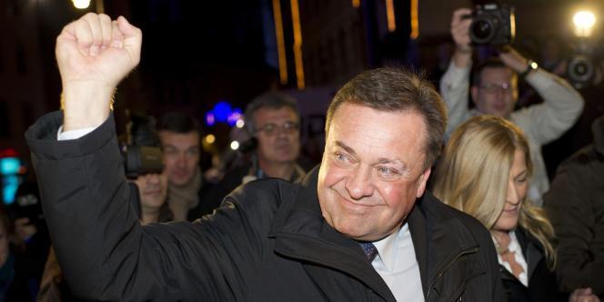Zoran Jankovic après la victoire électorale de son parti, Slovénie positive, à Ljubljana, le 4 décembre.