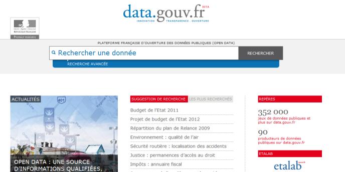 Le portail data.gouv.fr à son lancement le 5 décembre 2011.