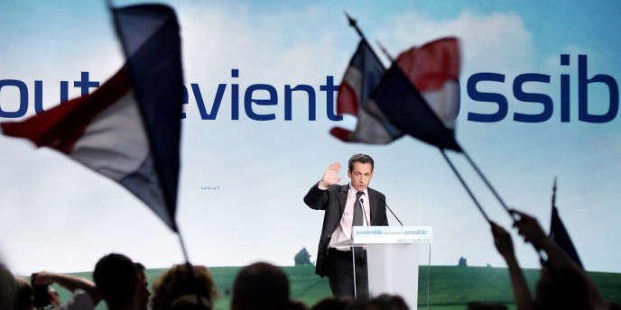 Nicolas Sarkozy lors d'un meeting, à Metz, le 17 avril 2007.