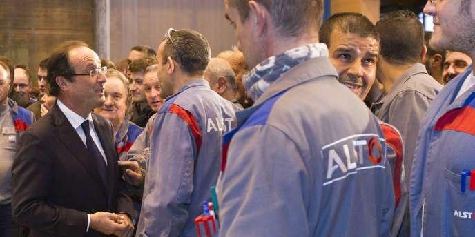 François Hollande lors d'une visite à l'usine Alstom du Creusot (Saône-et-Loire), mercredi 7 décembre.