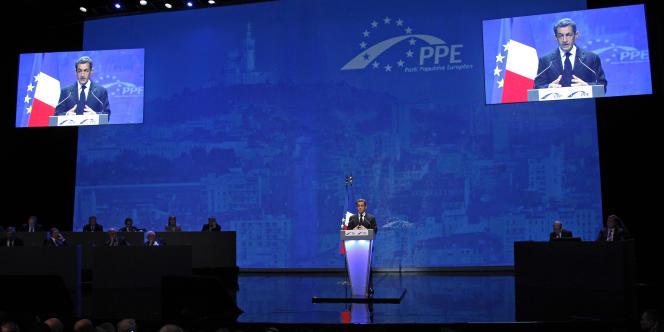Nicolas Sarkozy s'exprime lors du congrès du Parti populaire européen à Marseille, jeudi 8 décembre.