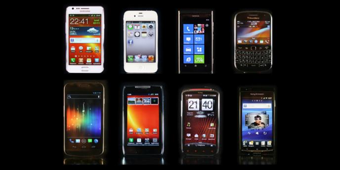 Une sélection de smartphones.