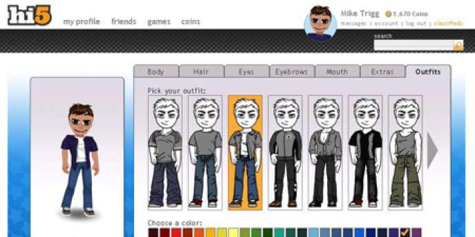 La création d'un avatar, sur le réseau social Hi5.