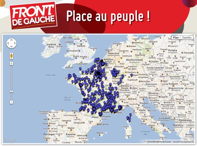 Les 788 inscrits sur la web-application du Front de Gauche géolocalisés sur une carte de France