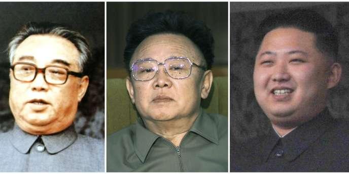 De gauche à droite, Kim Il-sung, Kim Jong-il et Kim Jong-un. Ce dernier est le portrait craché de son grand-père au même âge.