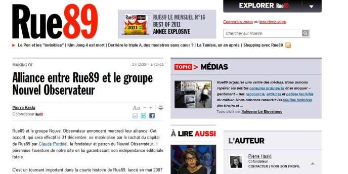 Une page du site d'information Rue89.
