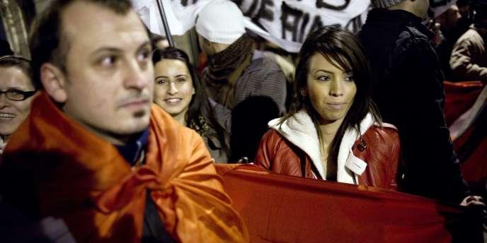Manifestation contre la loi pénalisant la négation de génocides, le 22 décembre, à Paris.