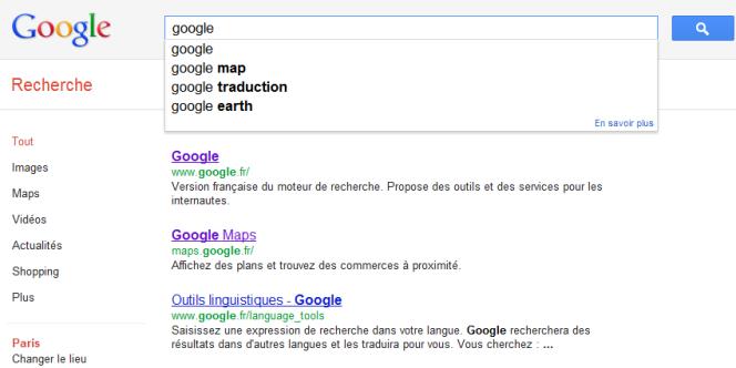 Démonstration des suggestions de recherche de Google.