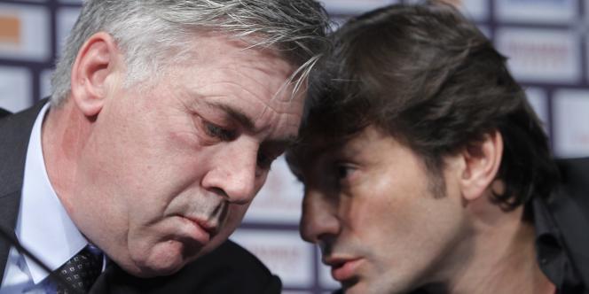 Carlo Ancelotti et Leonardo, le 30 décembre 2011 au Parc des Princes.