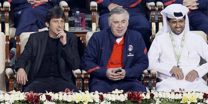 Leonardo, Carlo Ancelotti et Nasser Al-Khelaïfi, les maîtres du Paris Saint-Germain, ici à Doha le 4 janvier.