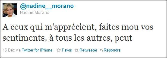 Capture d'écran d'un tweet de Nadine Morano