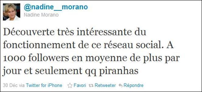 Capture d'écran d'un tweet de Nadine Morano.