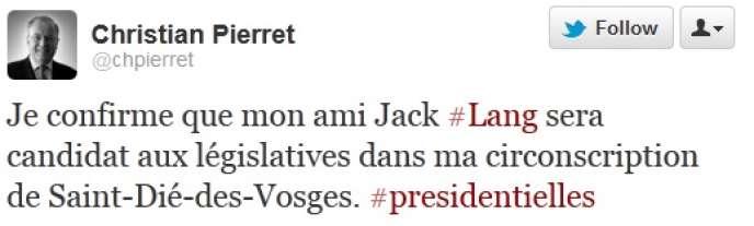 Christian Pierret a confirmé que Jack Lang se présentera dans les Vosges aux élections législatives.