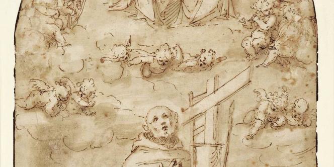 Ce dessin sur papier de l'artiste Guglielmo Caccia du 17ème siècle représente l'extase d'un saint.