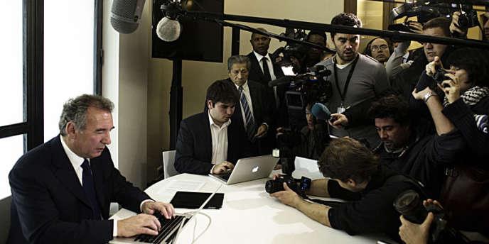 Le président du MoDem au moment de l'annonce de sa candidature à l'élection présidentielle, samedi 7 décembre 2011, à Paris.