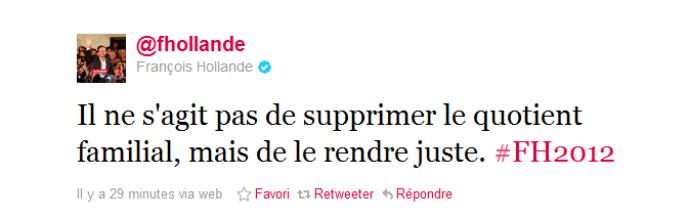 Message posté par François Hollande sur Twitter, le 10 janvier 2011.