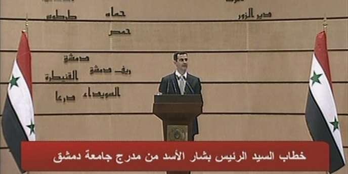Bachar Al-Assad à la télévision syrienne, le 10 janvier.