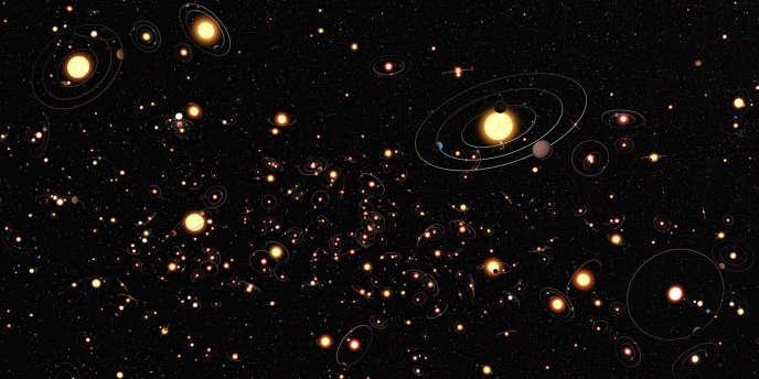 Cette vue d'artiste a été envoyée par l'Observatoire d'Europe du Sud pour illustrer combien les planètes tournant autour d'étoiles sont communes dans la Voie lactée.