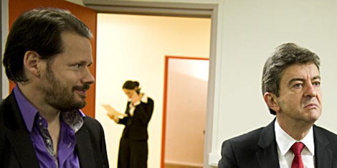 François Delapierre (à gauche), en février 2012, avec Jean-Luc Mélenchon.