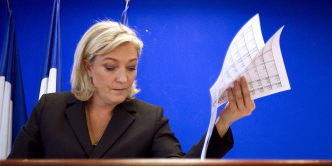 Marine Le Pen, jeudi 12 janvier au siège du FN, à Nanterre.