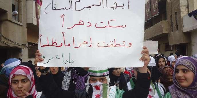 Manifestation hostile au régime syrien, le 14 janvier 2012, à Homs.