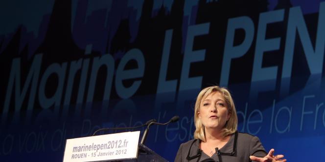 Marine Le Pen, lors de son meeting à Rouen le 15 janvier.