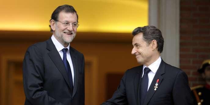 Le premier ministre espagnol, Mariano Rajoy, avec Nicolas Sarkozy, le 16 janvier 2012 à Madrid.