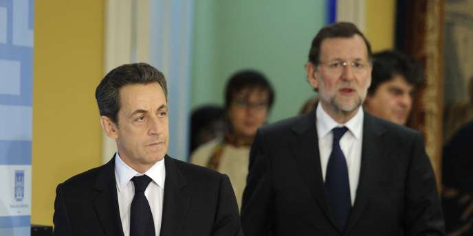 Nicolas Sarkozy, avec le premier ministre espagnol Mariano Rajoy, le 16 janvier à Madrid.