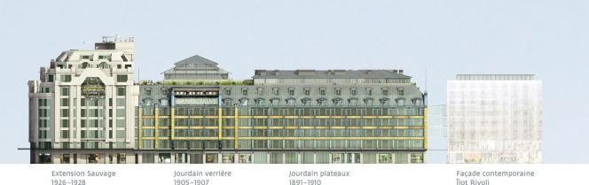 Maquette des quatre bâtiments de La Samaritaine après rénovation.