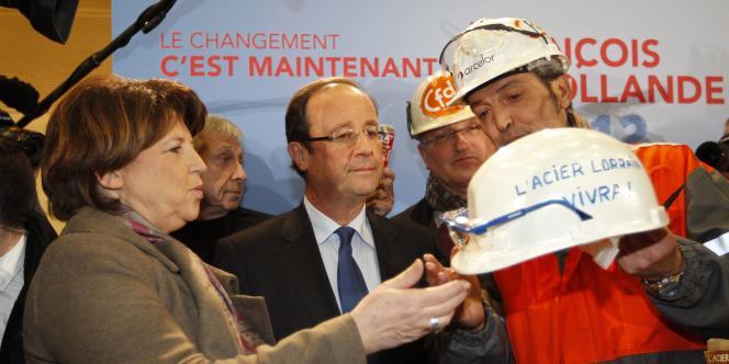 Martine Aubry et François Hollande le 17 janvier, à Gandrange (Moselle).