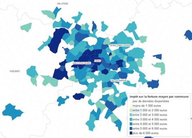 Niveau de l'impôt sur la fortune dans les plus grandes communes de la région parisienne en 2009