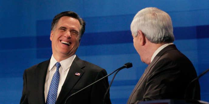 Mitt Romney et Newt Gingrich, le 16 janvier 2012 à Myrtle Beach (Caroline du Sud).