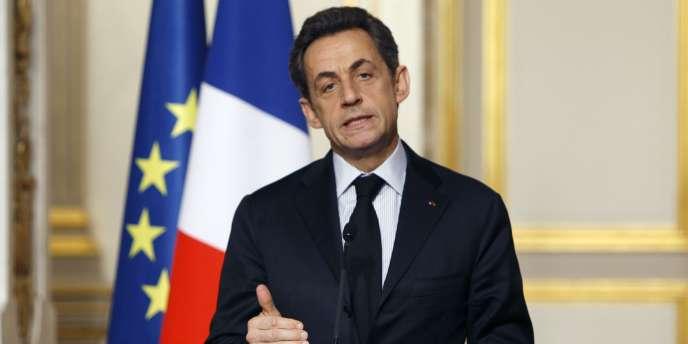 Le président de la République, Nicolas Sarkozy, à l'Elysée à Paris, le 18 janvier 2012.